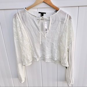 NWT Forever 21 Lace Crop Long Sleeve Blouse